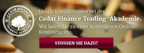 Webinare beim Broker Cedar Finance